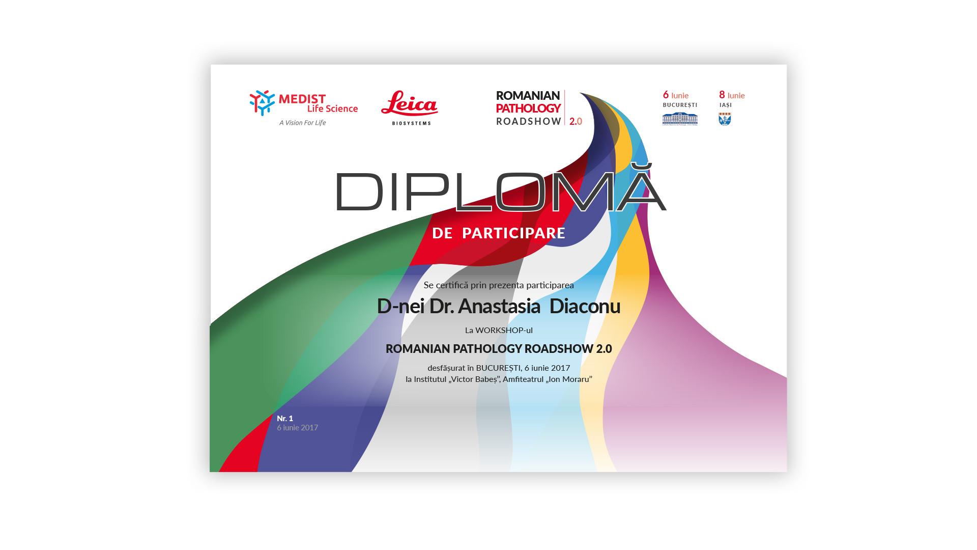 Romanian Pathology Roadshow diploma